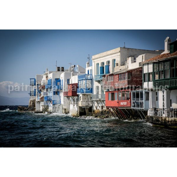 Little Venice Mykonos Photo Greece Charm Photo Fine Art Photography... ($9.28) ❤ liked on Polyvore featuring home, home decor, wall art, photographic wall art, island wall art, european home decor, photo wall art and island home decor