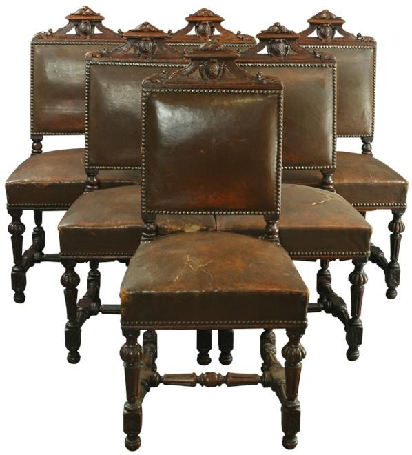 Set Of 6 Antique French Renaissance Dining Chairs Oak Leather 1900s France Antique Dining Chairs Dining Chairs Leather Chair