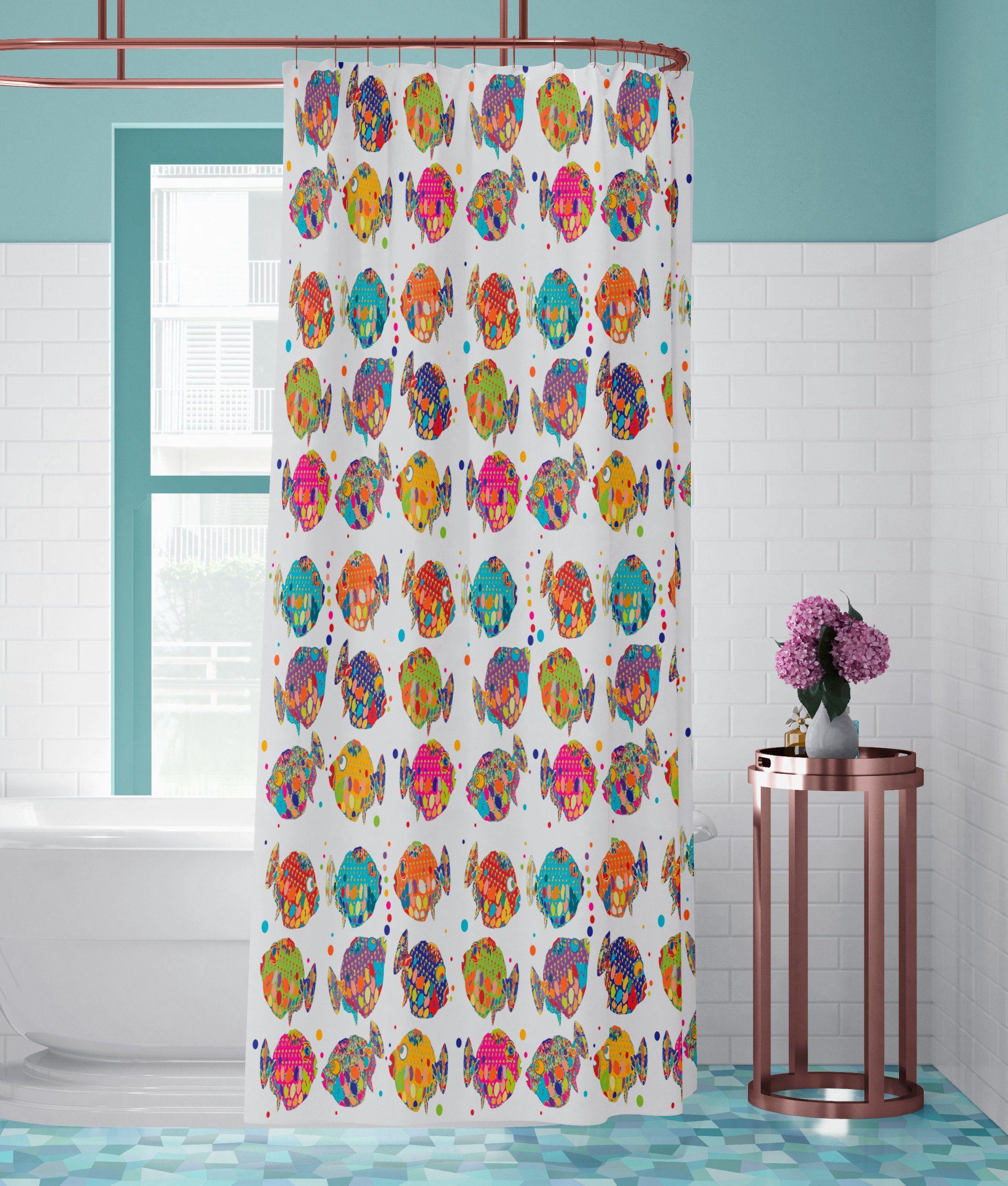 Tropical Fish Shower Curtain Beach Bathroom Decor Colorful Bath