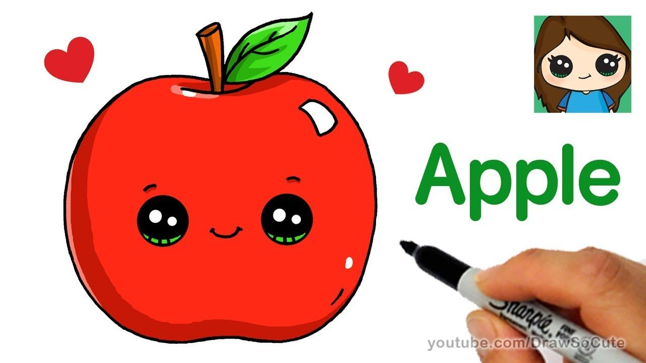 How To Draw An Apple Easy Art Drawings For Kids Drawing Videos For Kids Easy Cartoon Drawings