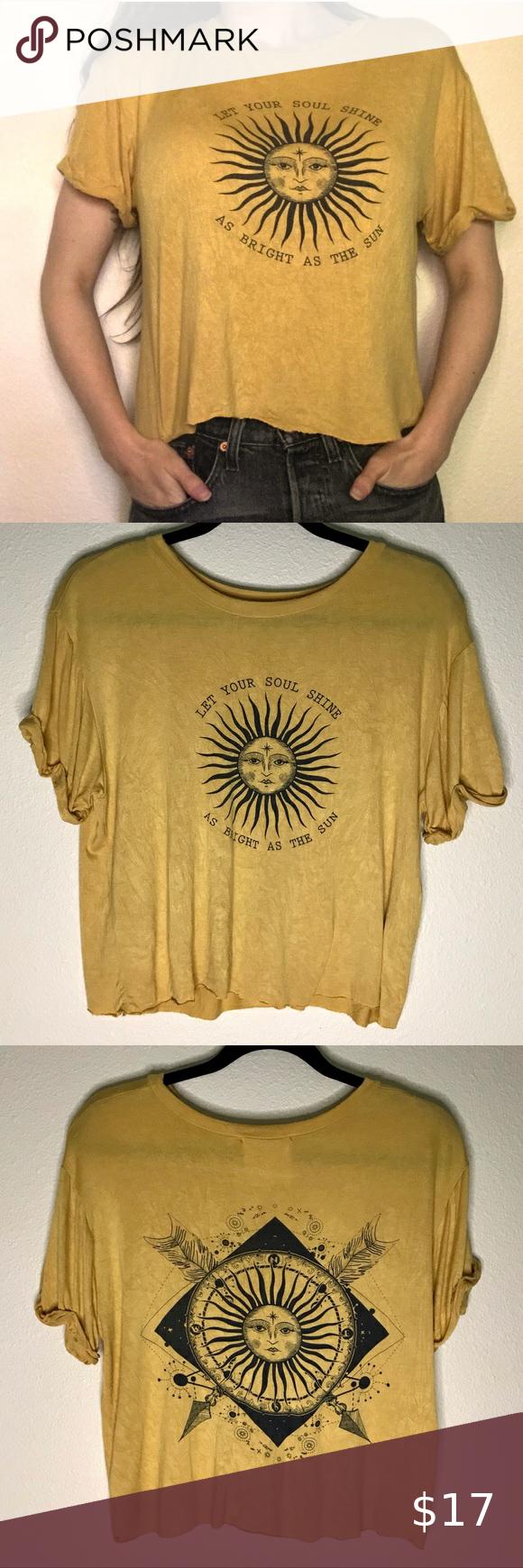 Celestial Sun Crop Top Shirt Mustard Graphic Tee In 2020 Crop Top Shirts Crop Tops Vintage Shirts