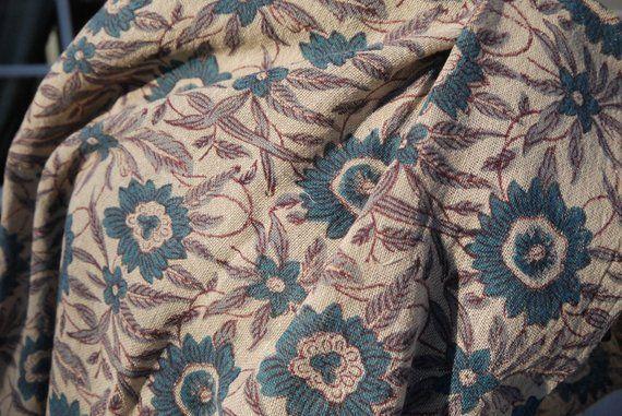 Long foulard, cheche châle, étamine de lin et coton - block print, imprimé bc3c7082e09