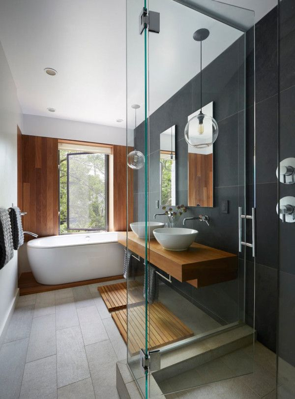 Beautiful Townhouse By Etelamaki Architecture Charcoal Bathroom, Teak Bathroom,  Bathroom Wood Wall, Bathroom With