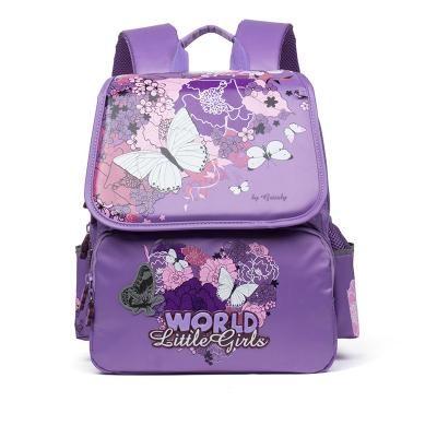 Delune Orthopedic Backpack Butterfly Flowers Waterproof Primary School Book Bag