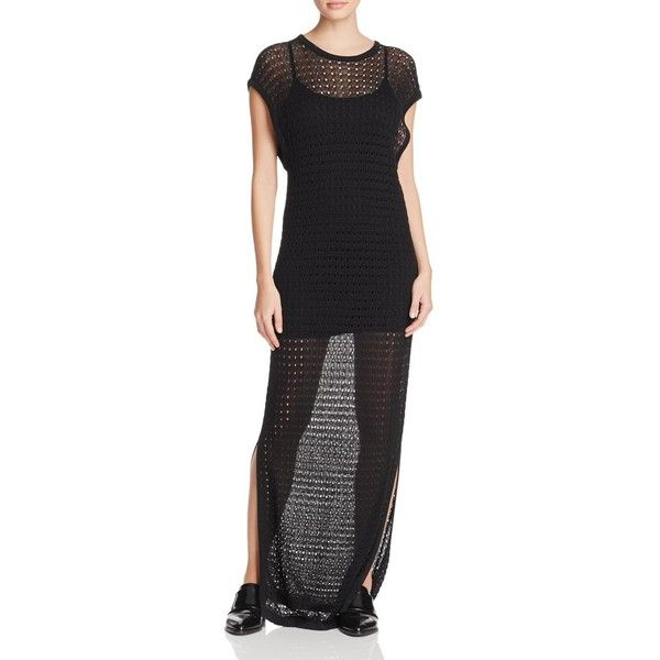 Dkny Crochet Open Knit Maxi Dress 160 Liked On Polyvore Featuring Dresses Black Cotton Summer