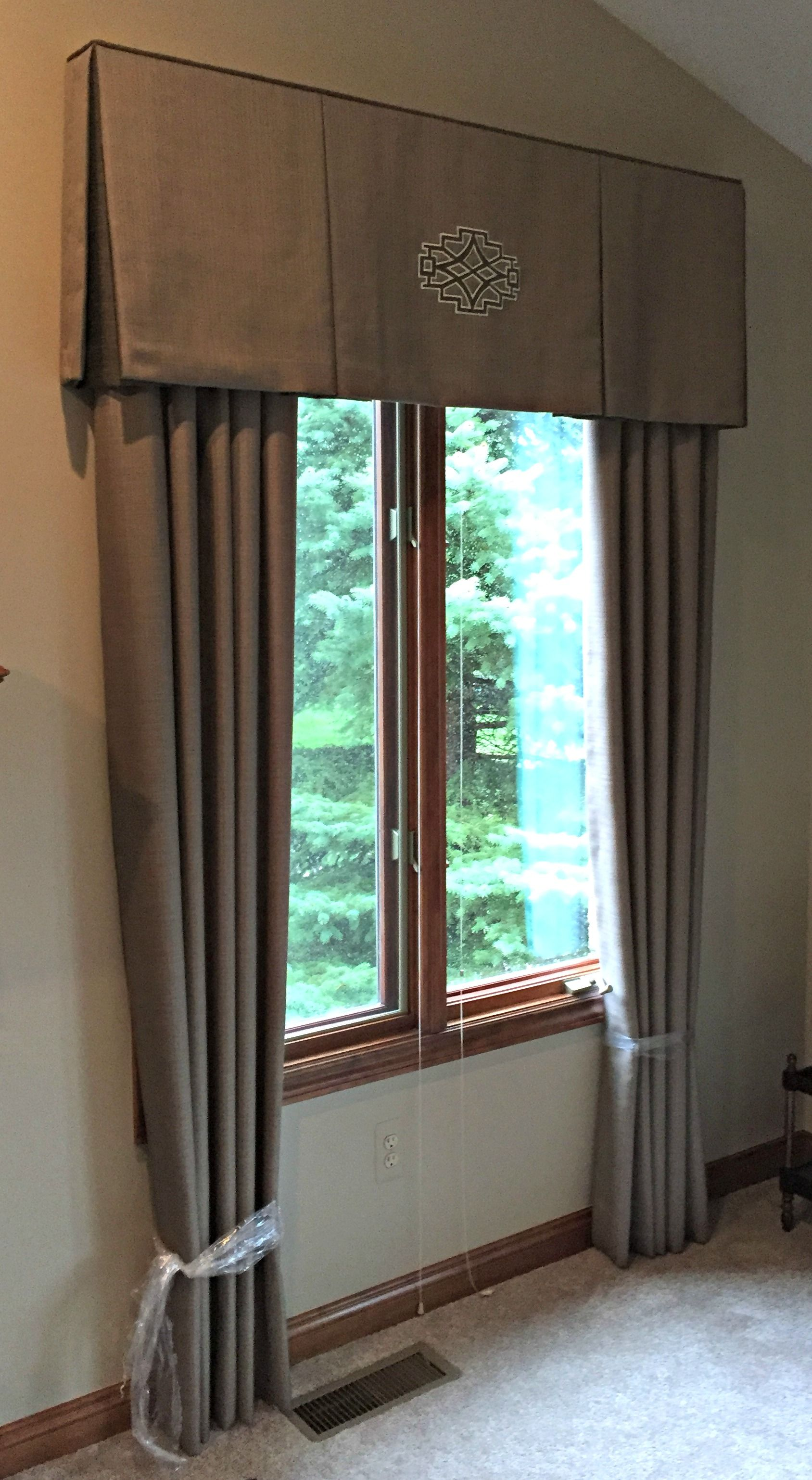living room window valance ideas%0A We fabricated these taupe drapery panels with matching valances for two  windows in this living room