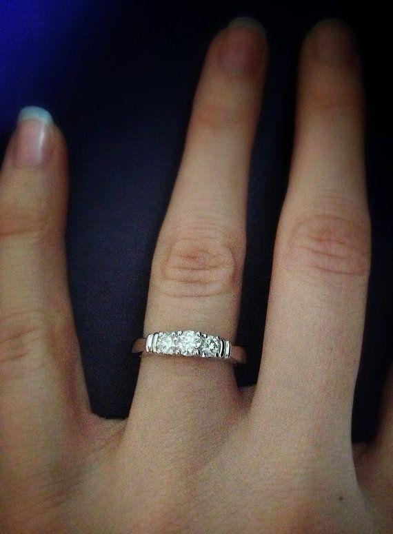 14 K White Gold 0 5 Carat Three Stone Diamond Ring Etsy Three Stone Diamond Ring White Gold Diamond Ring