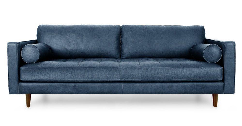 top grain leather sofa mid century modern tuxedo retro indigo navy rh pinterest com