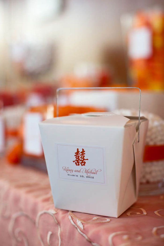 orange jelly bean take away favor box