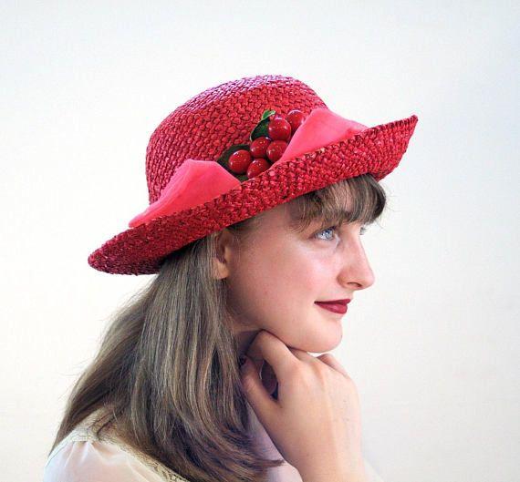 80s Red Straw Hat 92f7d8f9cf2