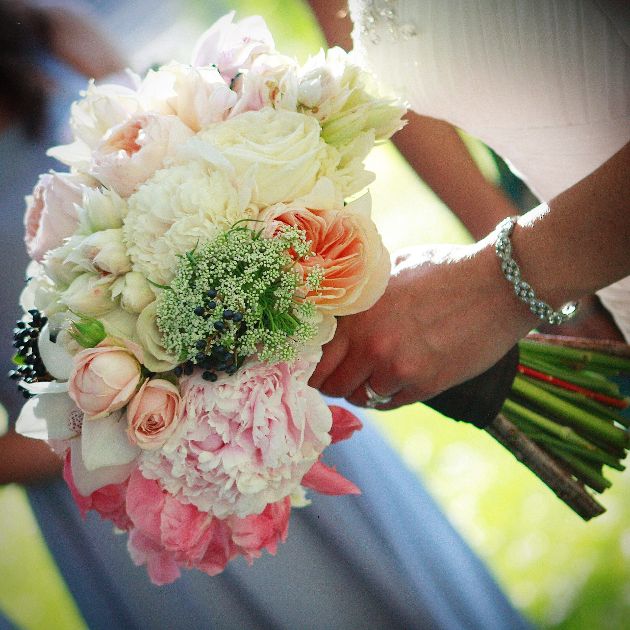 heavenly pastel bride's bouquet. perfect for june weddings with it's seasonal selection of peonies, queen anne's lace and other lush early summer flowers!