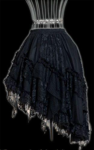 RQ-BL Rock schwarz Spitze Rüschen Gothic Steampunk Victorian Barock Lolita 21013
