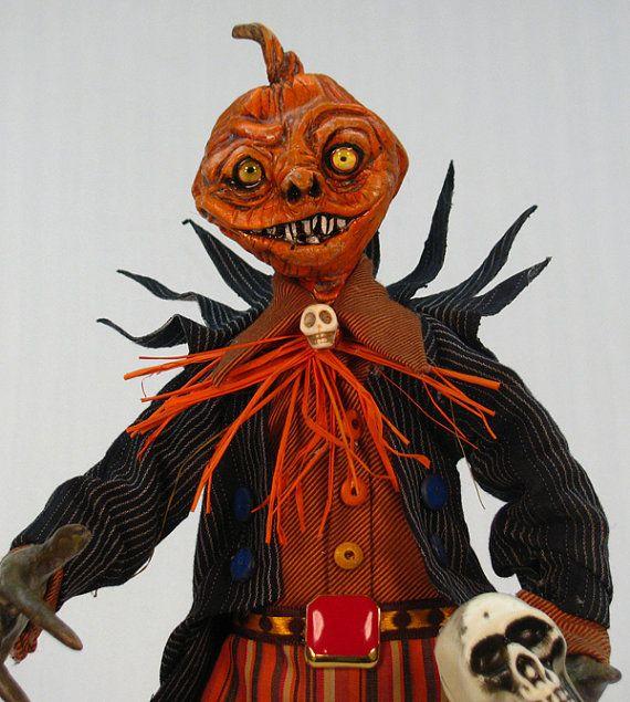 Handmade OOAK Halloween Jack B. Nimble Pumpkin Man Self Standing Pose-able Doll