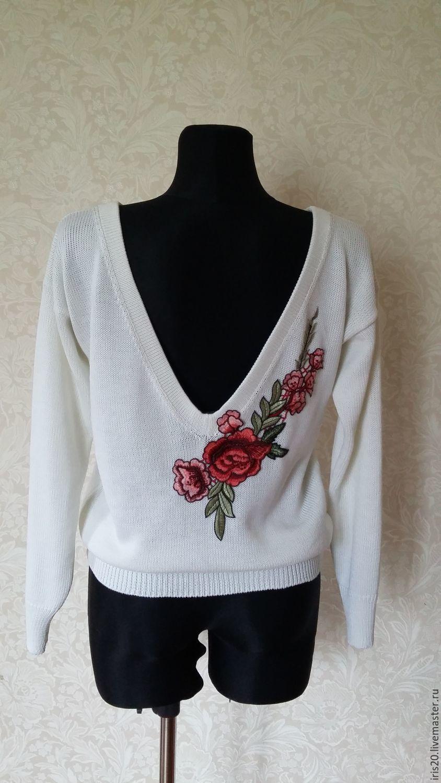 купить свитерок с вышивкой белый свитер свитер вязаный свитер