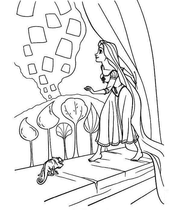 Tangled Lanterns Coloring Pages Sketch Coloring Page Disney