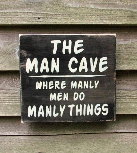 man cave sign, gift for dad, primitive rustic home decor, hand painted wood sign, man cave home decor, man cave ideas images
