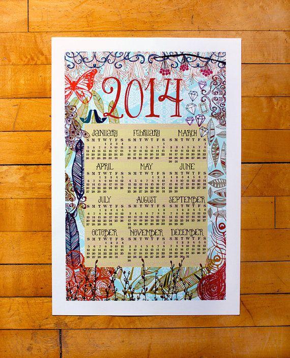 Beautiful hand drawn 2014 wall calendar-13 x 19 poster-honeysuckle ...