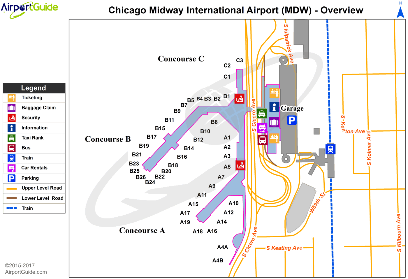 Chicago Chicago Midway International MDW Airport Terminal Map