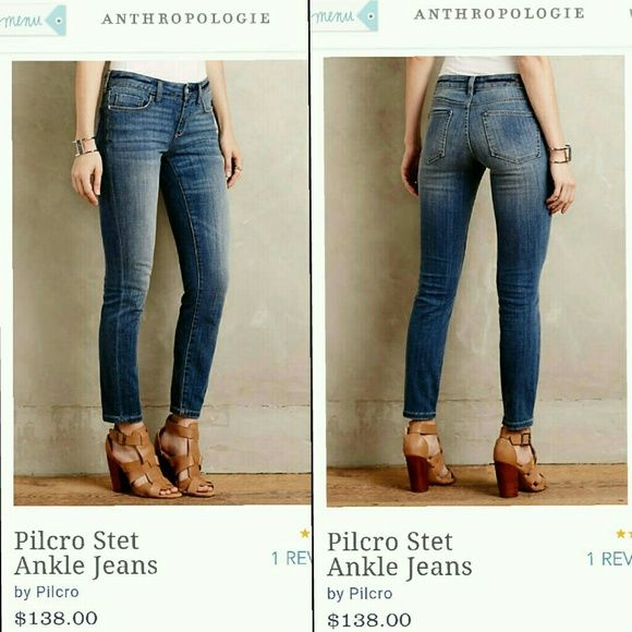 Anthropology Pilcro stet ankle blue jeans Great condition. The backs of the ankles look more worn than they really are. I didn't even realize any wear until I took the pic. Comfortable and flattering jeans. (Skinny jeans) Anthropologie Jeans Ankle & Cropped