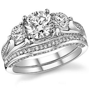 3 Stone Accented Trellis Asha Wedding Set