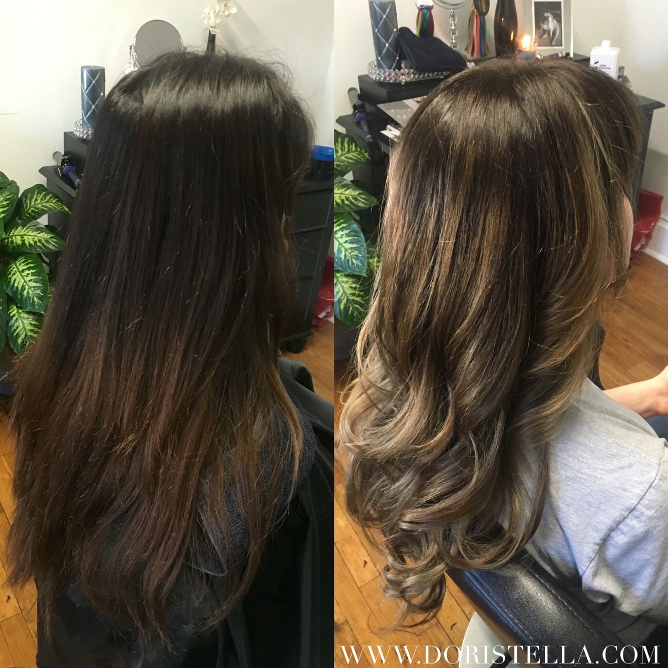 Before After Dark Beige Blonde Highlights Balayage Brunette Long Layers And Curls Www Doristella Com Balayage Brunette Hair Styles Blonde Highlights