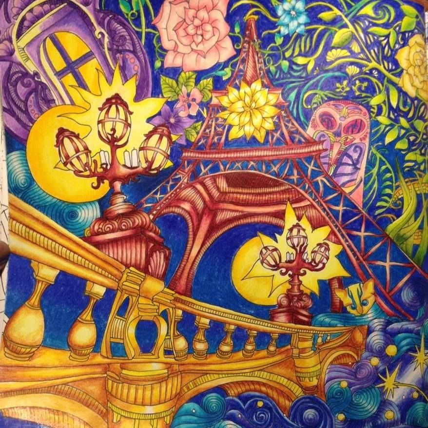 Magical City Coloring Book Eiffel Tower Prismacolor Pencils By Me
