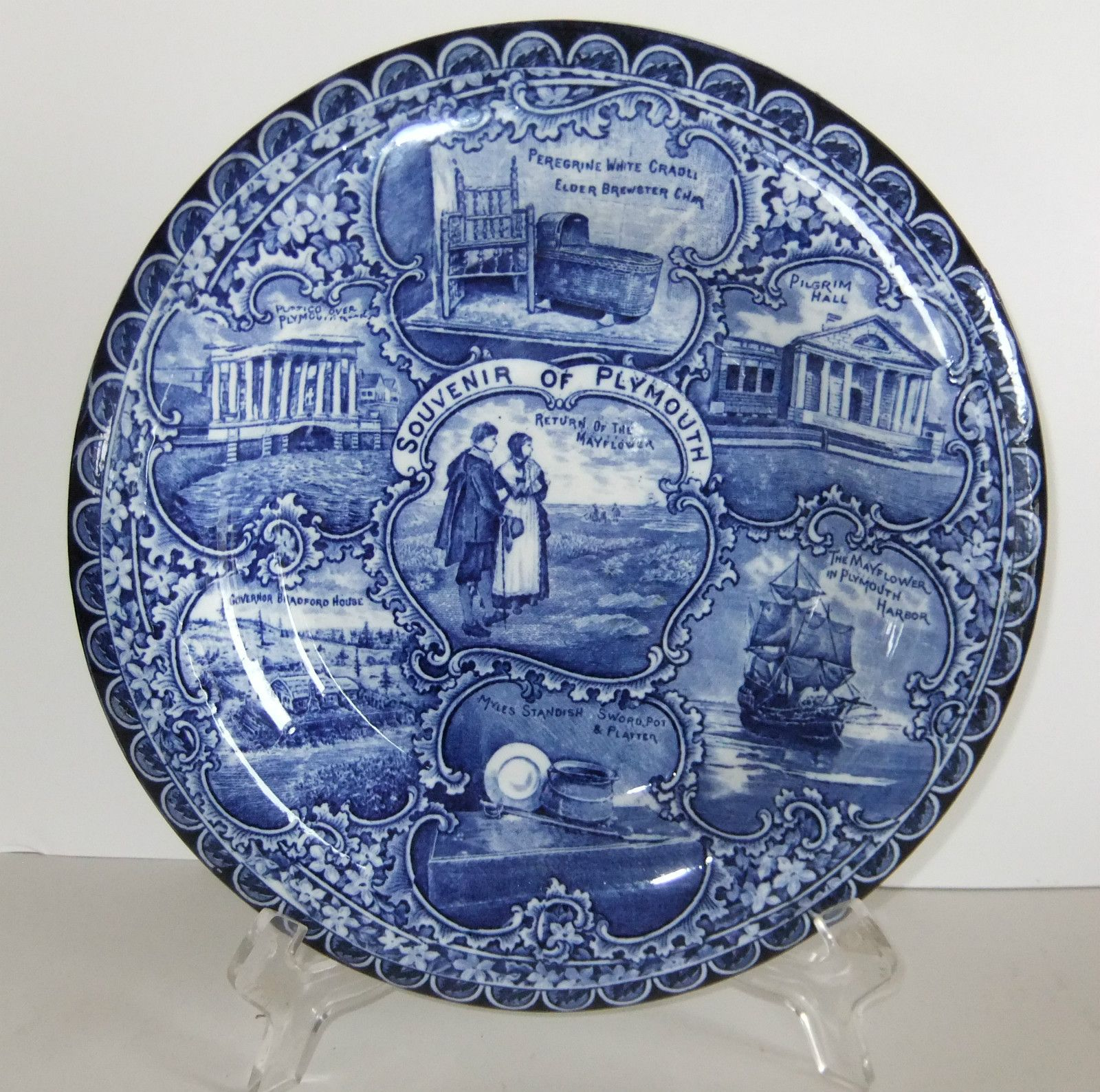 Antique A s Burbank R s Souvenir Flow Blue Plate Rolled Rim Plymouth Mass 1907 | eBay