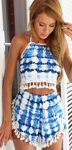 ca0f7b251692 Blue White Tie Dye Sleeveless Open Back Halter Fringe Tassel Trim Crop Top  Shorts Two Piece Romper