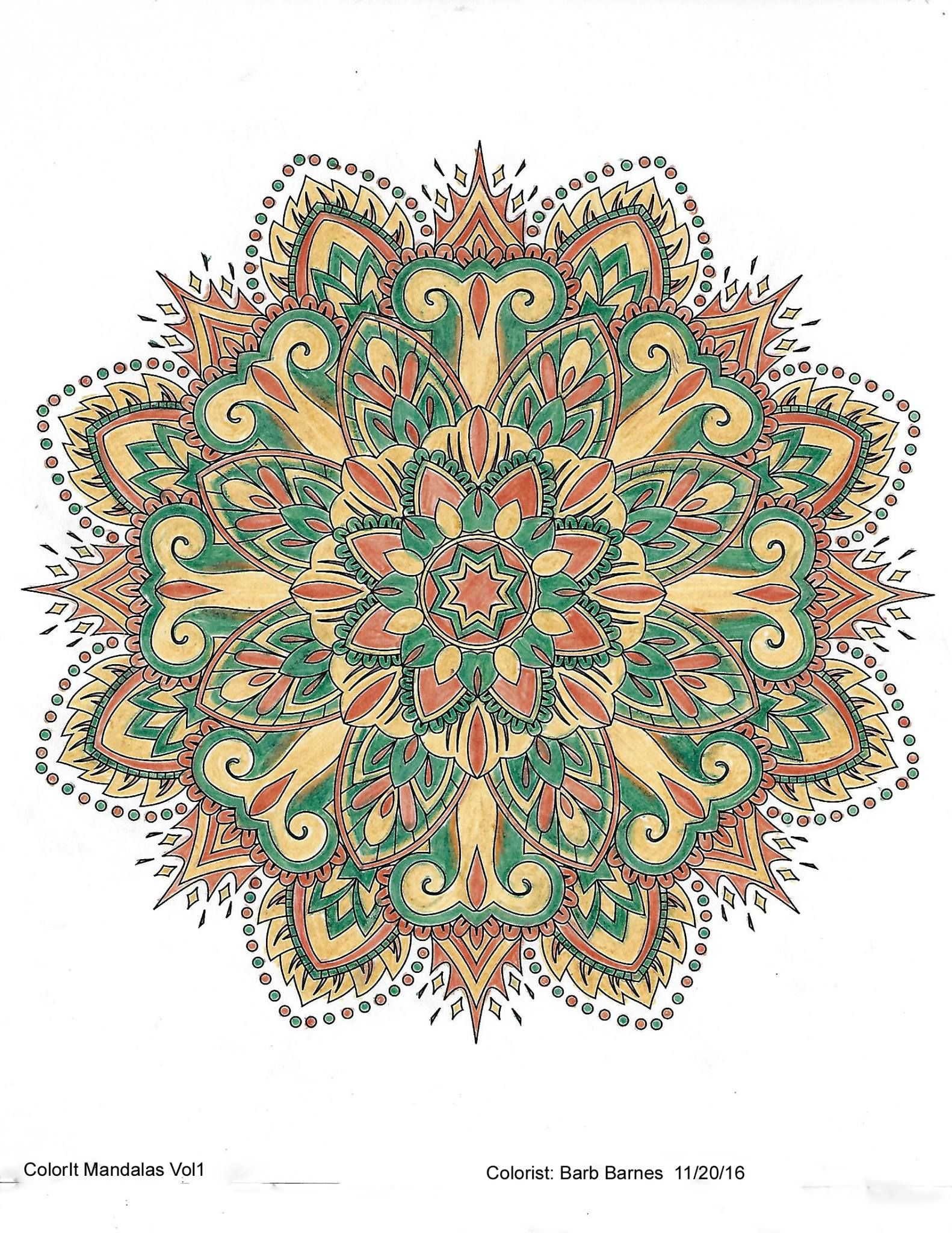 Colorit Mandalas To Color Volume 1 Colorist Barbara Barnes