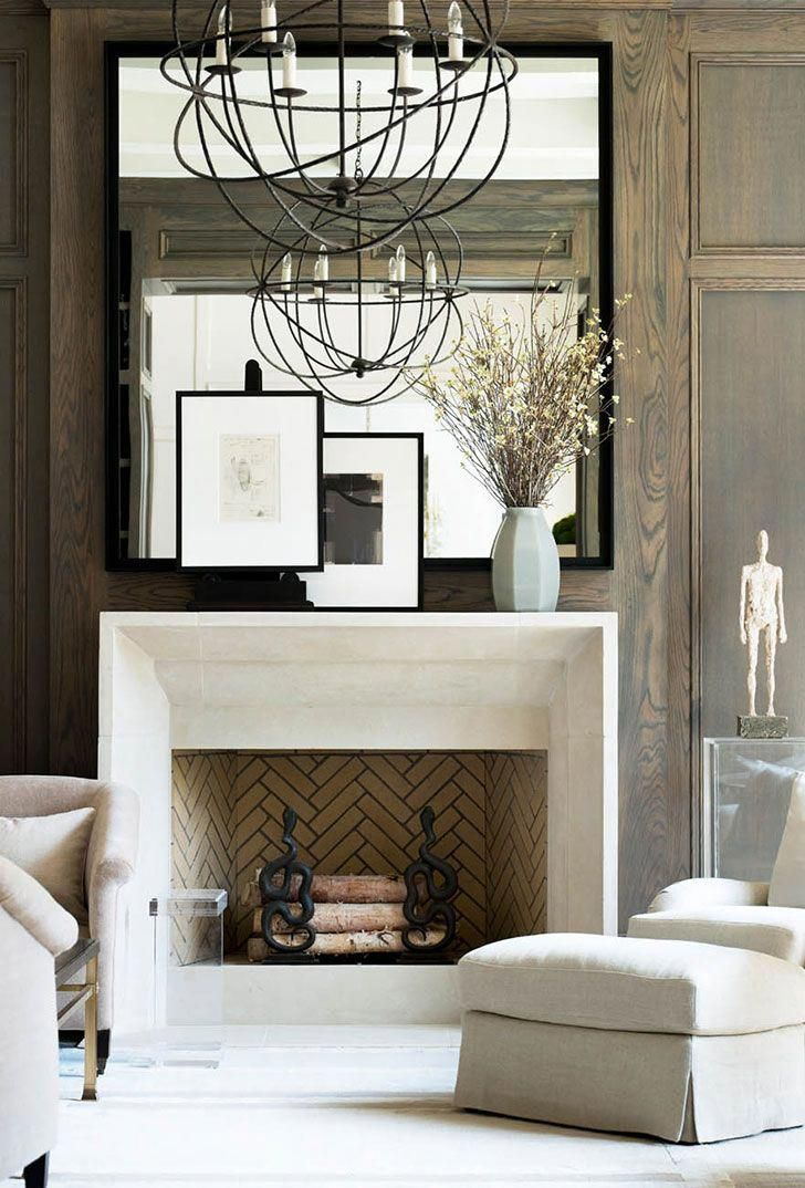 Mantle styling, vintage decor, rustic elements, interior styling, Restoration Hardware lighting #interiordesignrustic #restorationhardware