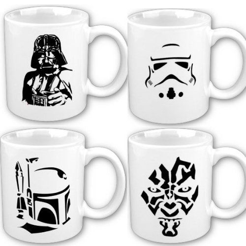 Star Wars Art Inspired Promo Four Mug Set Includes Darth Vader, Boba Fett, Stormtrooper, And Darth Maul Stencil Art For Coffee, Tea, And Hot Coco.