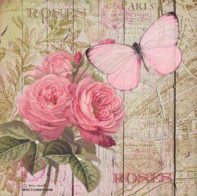 Hoja De Papel De Arroz Para Decoupage Scrapbooking Artesanía Vintage Rosas Y Mariposa