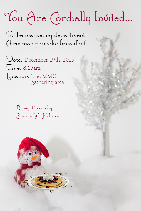 A silly invitation sent out to my department to add some additional fun to a breakfast gathering.