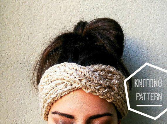 Turbante estilo diadema punto patrón, turbante punto, tejer patrón ...