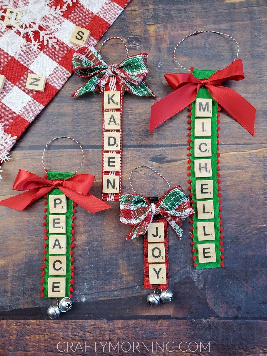 Make Personalized Ornaments Using Old Scrabble Letters From Your Old Game You Can Christmas Scrabble Tiles Scrabble Christmas Ornaments Easy Christmas Crafts