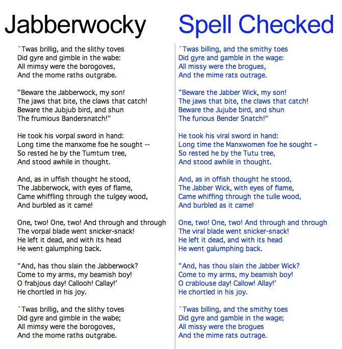 Jabberwocky Meet Spell Check Lewis Carroll Jabberwocky