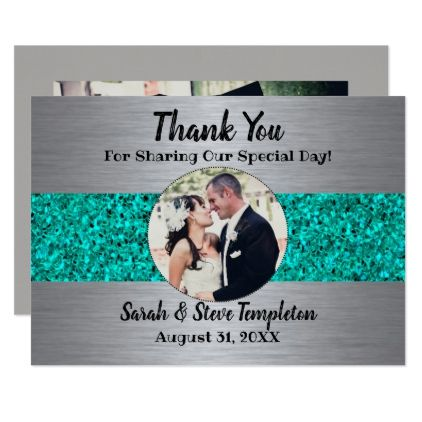 Teal Sparkle Photo Wedding Thank You Cards Bride Ideas Pinterest