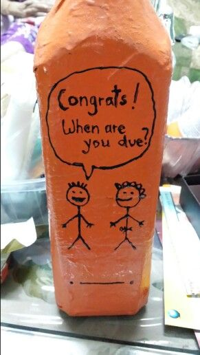 Painted bottle with stick figures #upcycle #paintedbottle #stickfigure #craft #handpainted #fun