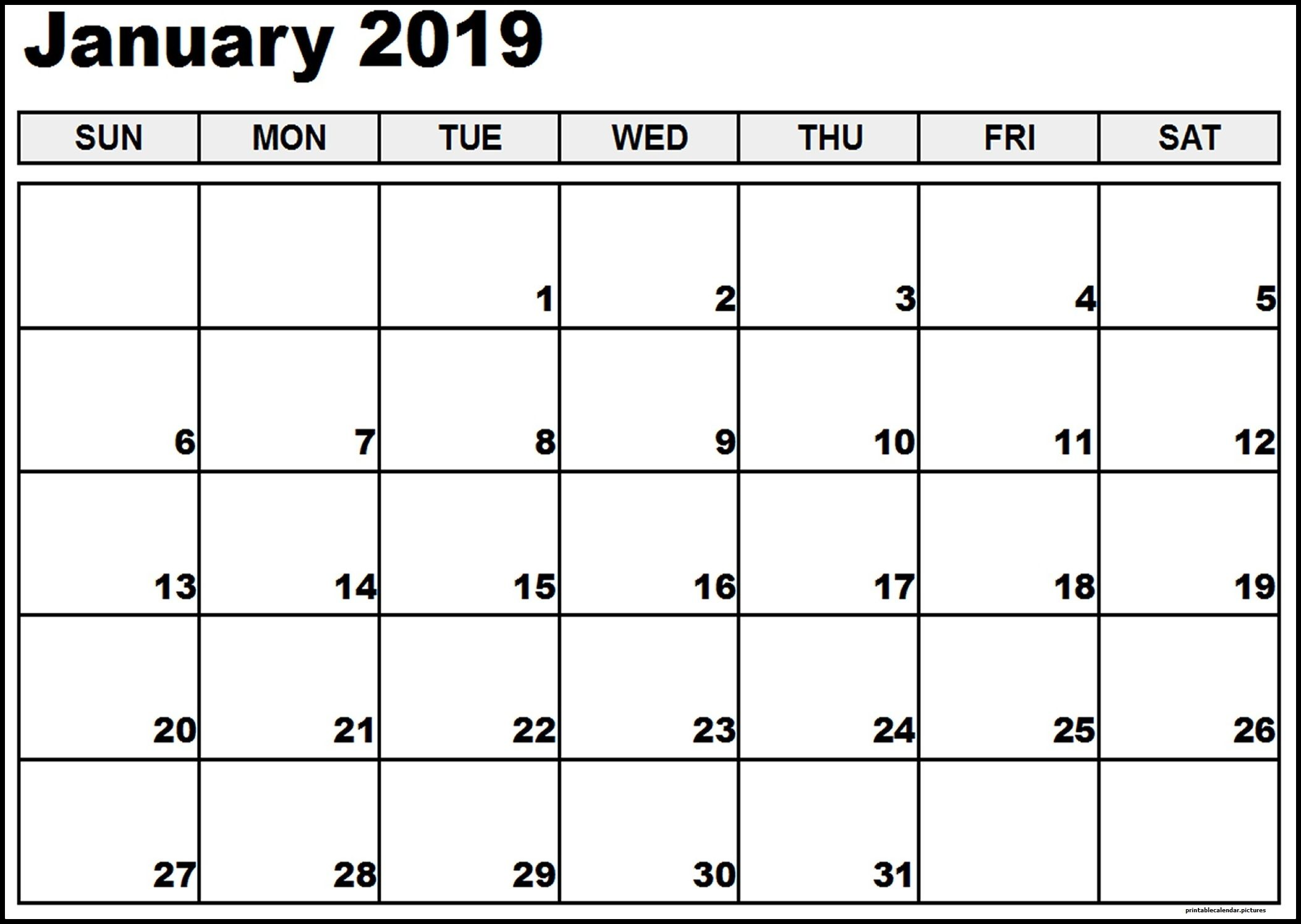 photograph regarding Printable Pdf Calendar titled January 2019 Calendar Printable PDF Template No cost 150+