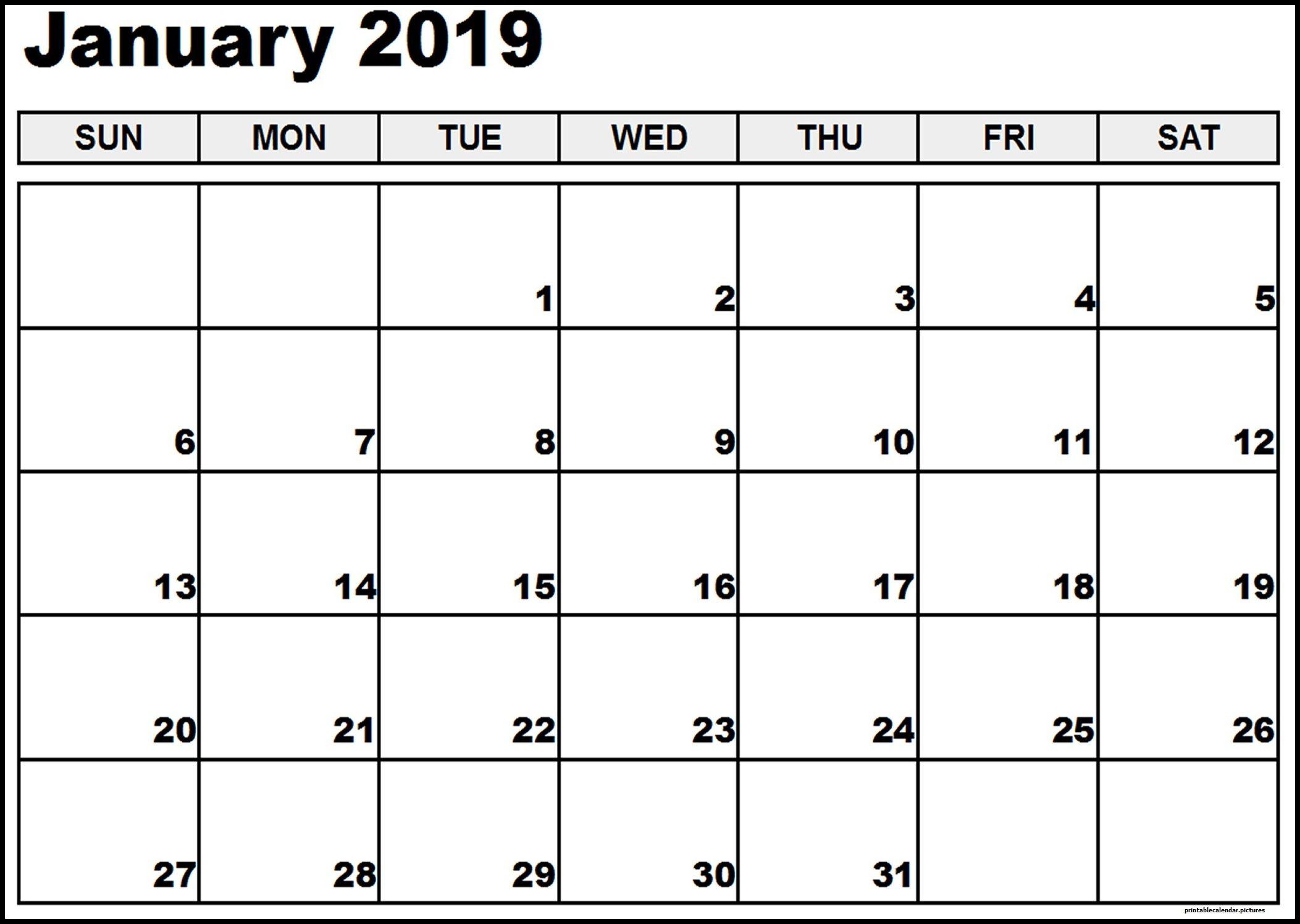 January Calendar Printable Template Free