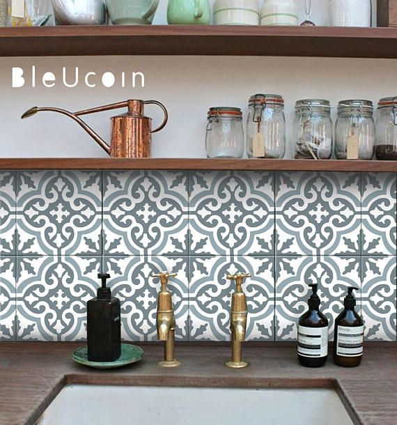 Moroccan Blue Dusk Kitchen Bathroom Tile Sticker Removable
