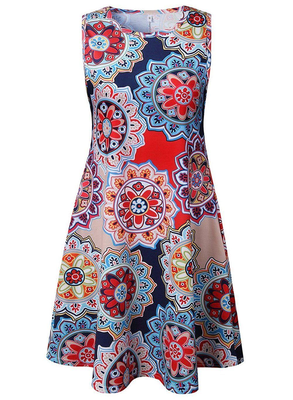 Luranee Sundresses For Women Ladies Sleeveless Damask House Dresses With Flowy Hem Lightw Sleeveless Dresses Casual Summer Dresses For Women Women Clothes Sale [ 1365 x 1001 Pixel ]