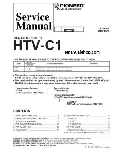 Pioneer #Control #Center #HTVC1 #Service #Manual | Service Repair
