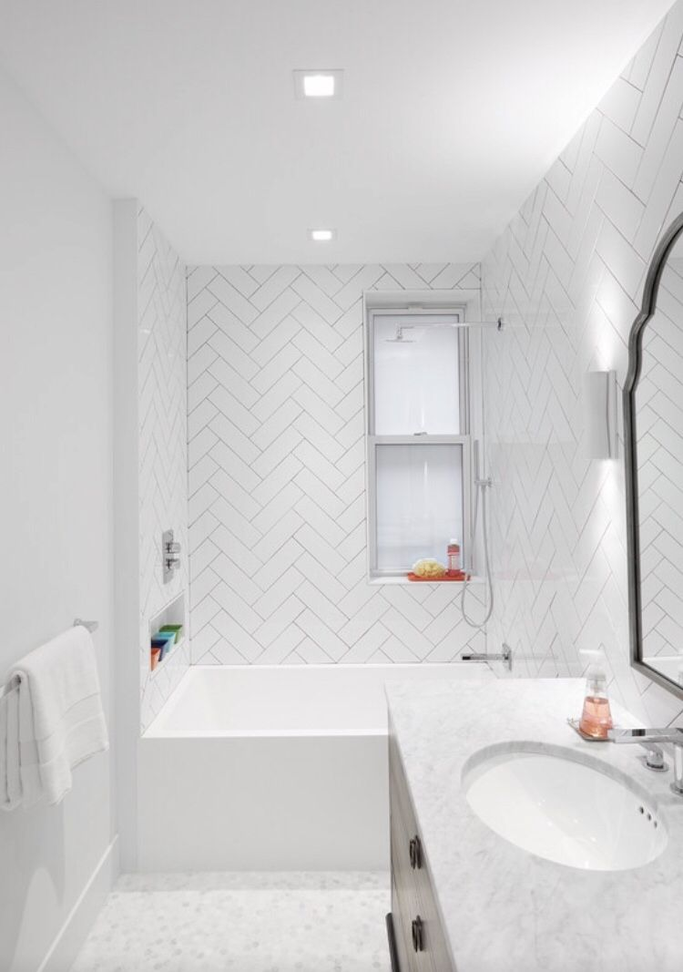 Herringbone Feature Bathroom Tile Small Bathroom Renovations Herringbone Tile Bathroom White Bathroom Tiles