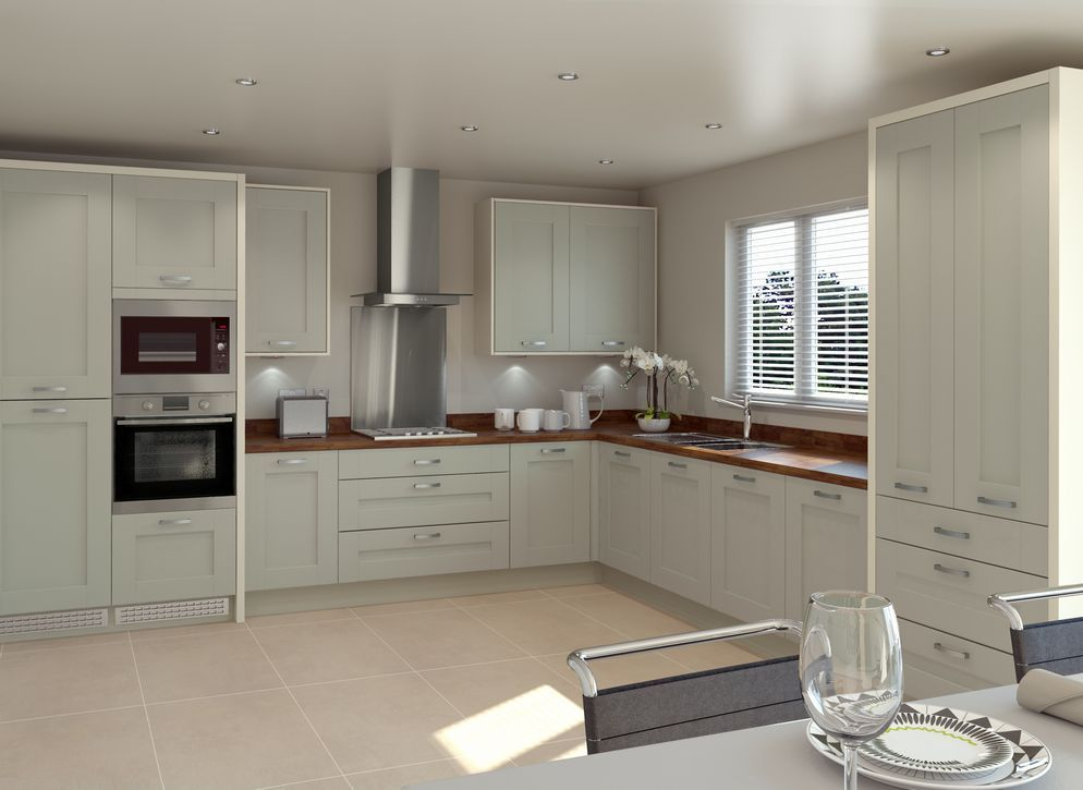 Modern Painted Kitchen With Wood Worktop