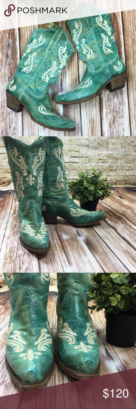 12f8d538b16 Corral Turquoise Fleur-De-Lis Cowboy Boots Sz 10 These boots are ...