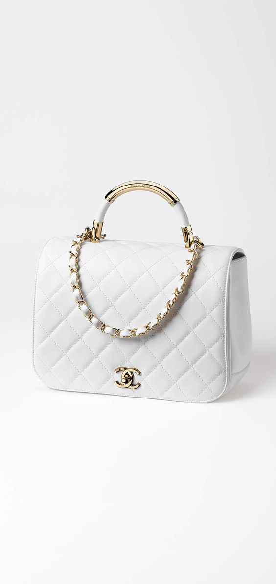 418947b52a24 Chanel white + gold quilted flap bag | Handbags | Bags, Hand bags ...