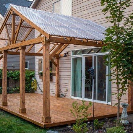 Photo of Bricolaje: hay un porche de cemento en una terraza de madera