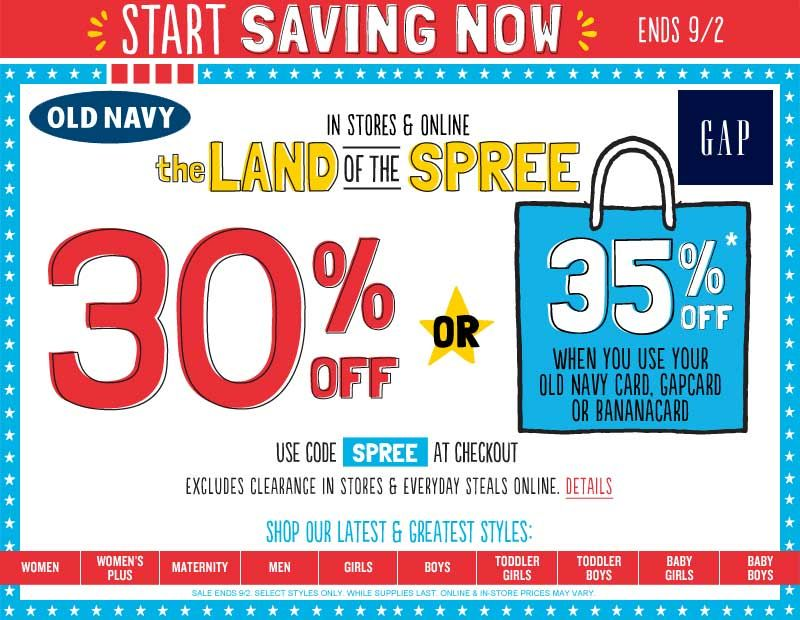 Pinned August 29th 30 Off At Old Navy Gap Banana Republic Or Online Via Promo Code Spree Via The Coupons App Old Navy Coupon Old Navy Coupons