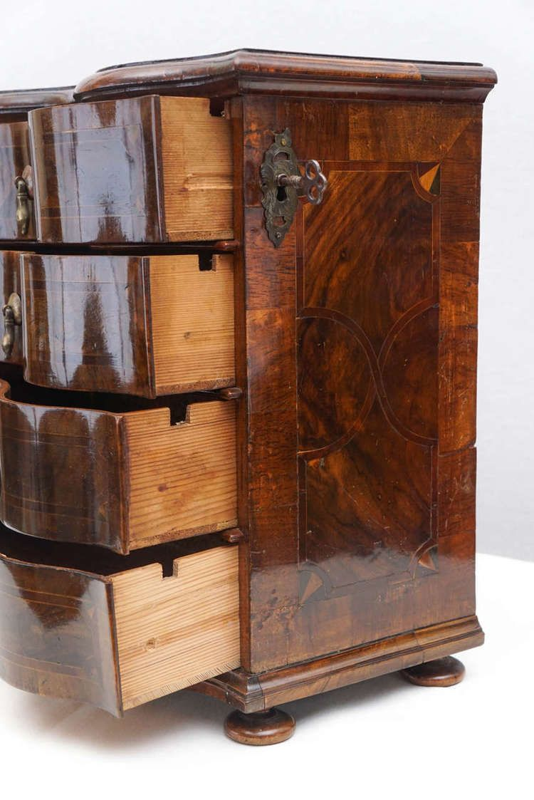 German Rococo Style Walnut Inlaid Miniature Chest Of Drawers Or
